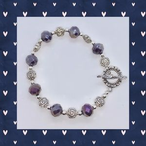 Purple Iridescent, Silver Rose and Silver Bracelet